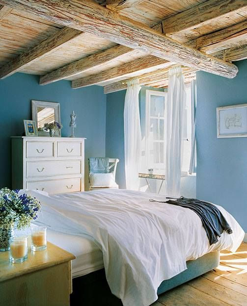 Habitaci n playa azul en las paredes y blanco en los - Vigas de decoracion ...
