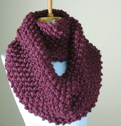 Knitted Scarf Patterns Chunky Hand Knit Infinity Scarf In Purple