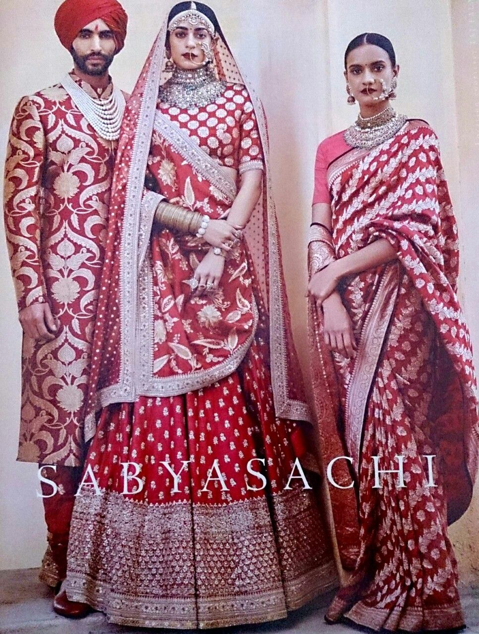Sabyasachi red banarasi saree and zardosi embellished Lahenga ...