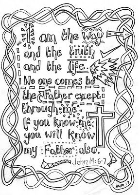 Reflective Colouring Sheet John 14 6 7 I Am The Way The Truth