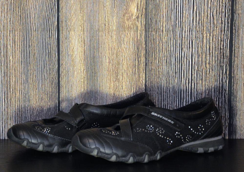 0a63f510e9e Women's Size 8 Skechers Black Leather Rhinestone Velcro Mary Jane ...