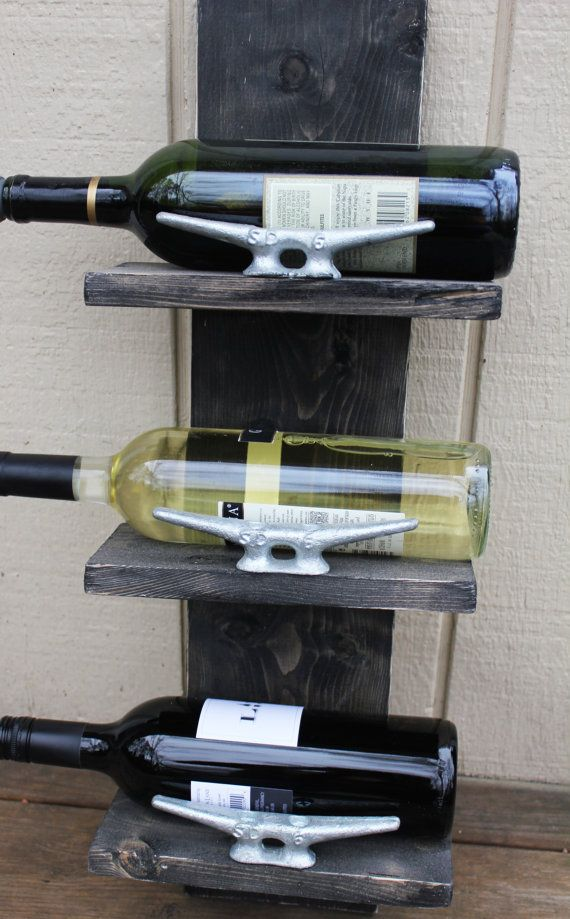 Small Wine Rack With Boat Cleats Handcrafted Nautical
