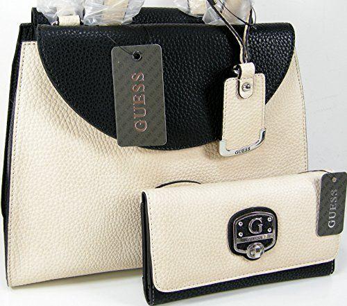 151a8e3eba New Guess Logo Purse Satchel Cross Body Bag   Wallet Set 2 Piece Matching  Cream Black