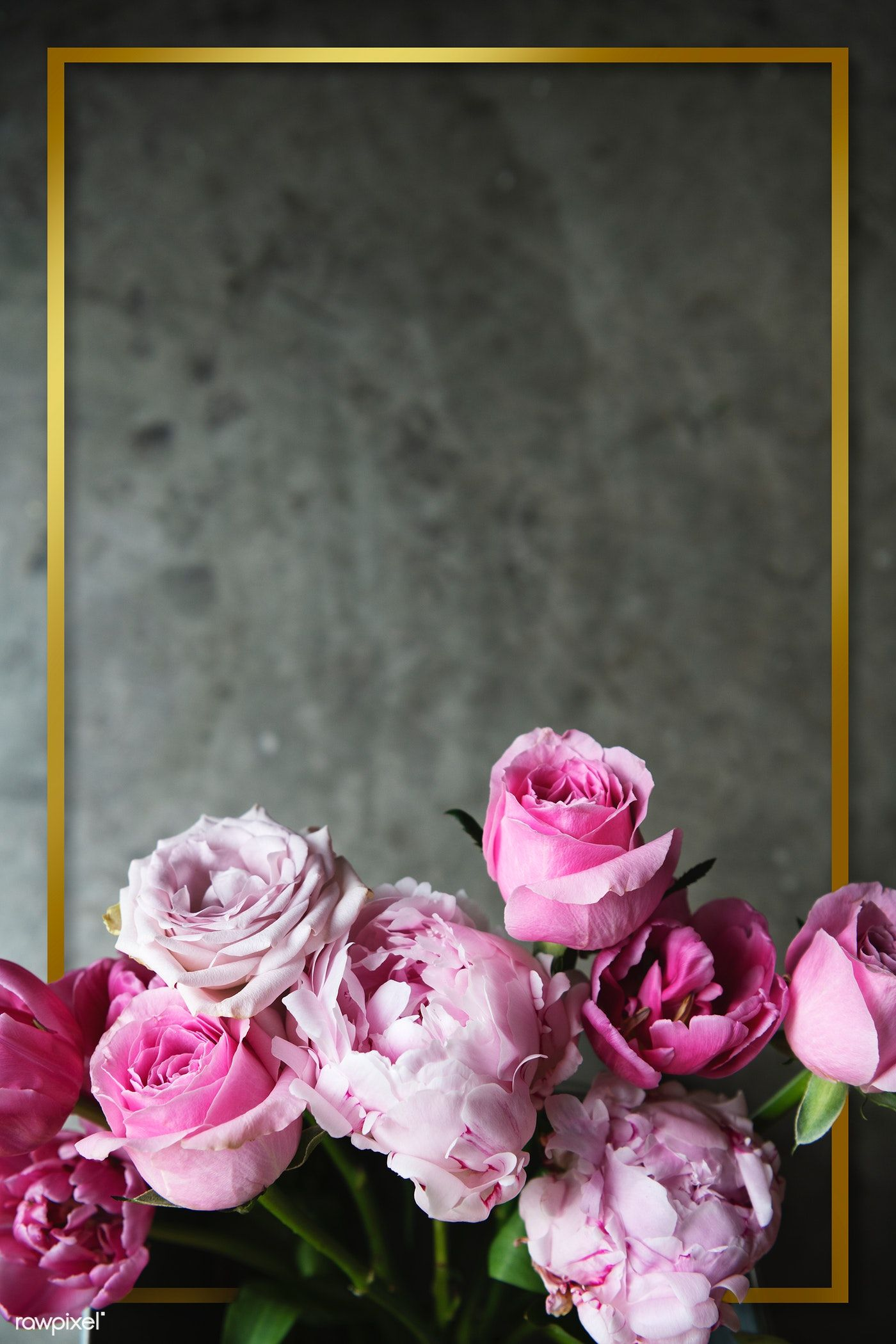 Download Premium Psd Of Golden Frame With Blooming Ranunculus