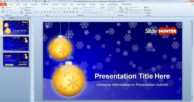 Widescreen Golden Balls PowerPoint Template which is a free - christmas powerpoint template