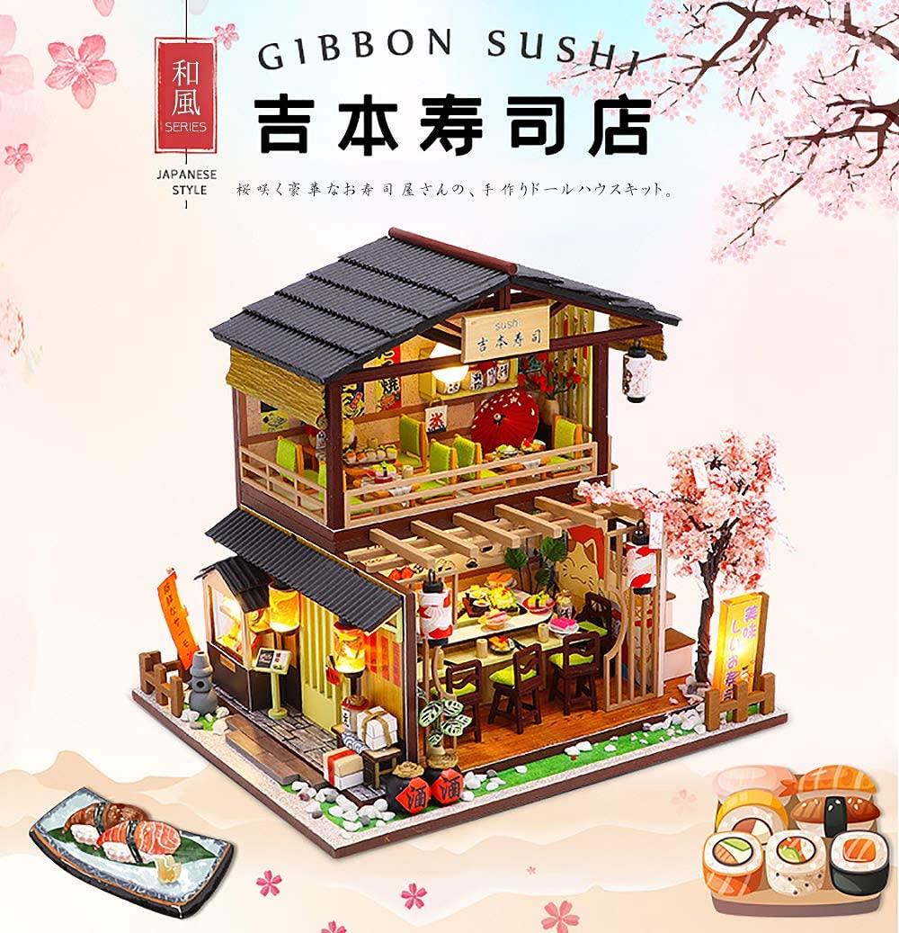 Amazon Co Jp Moin Moin 2006dh154 Dollhouse Miniature Handmade Kit Set Sakura Blooming Sushi Shop 2 Story Japanese Style Sushi Cherry Blossom Spring Medium 2021