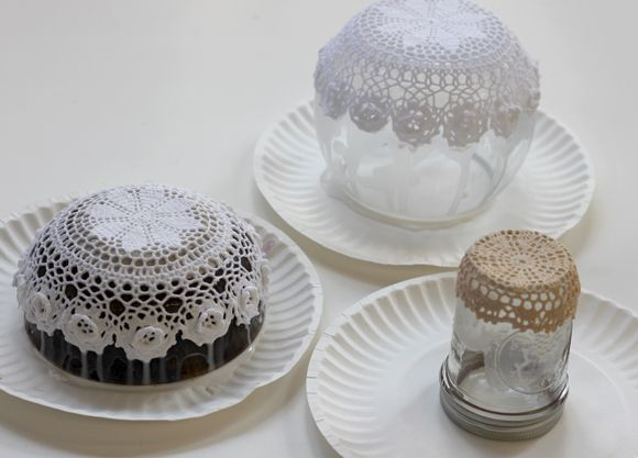 If you have a bowl and doilies already and don't want to purchase fabric stiffener, you can make your own! Just mix equal parts white glue and water.    Leave overnight to dry, remove from bowl and invert.