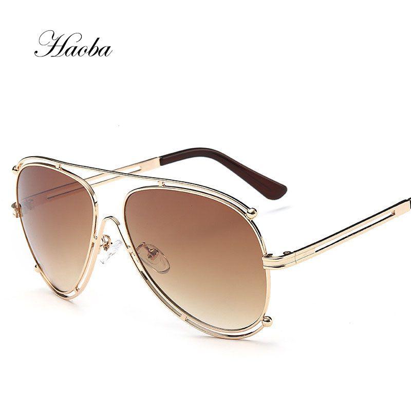 42f9e8d78fb 2017 New Oversized Aviation Famous Brand Designer Women Men Mirror Pilot  Sunglasses Driving Sun Glasses Male