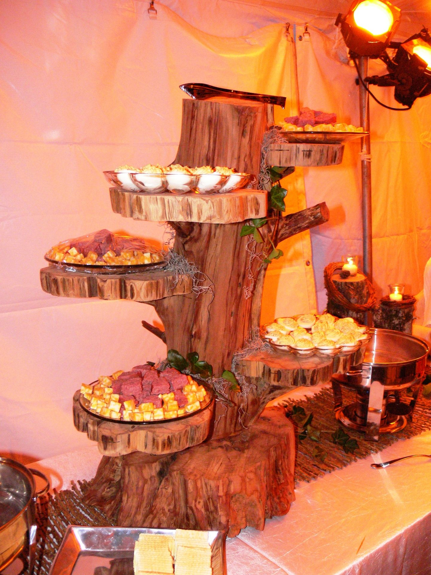 Unique buffet table presentation for an outdoor setting ...