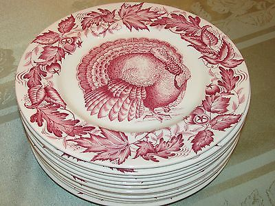 12 Vintage Royal Staffordshire Clarice Cliff Pink Transferware Turkey Plates Sold for $370.00 on ...