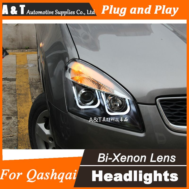 A T Car Styling For Nissan Qashqai Led Headlight Qashqai Angel Eye Drl Lens Double Beam H7 Hid Xenon Bi Xenon Lens Nissan Qashqai Car Lights Led Headlights