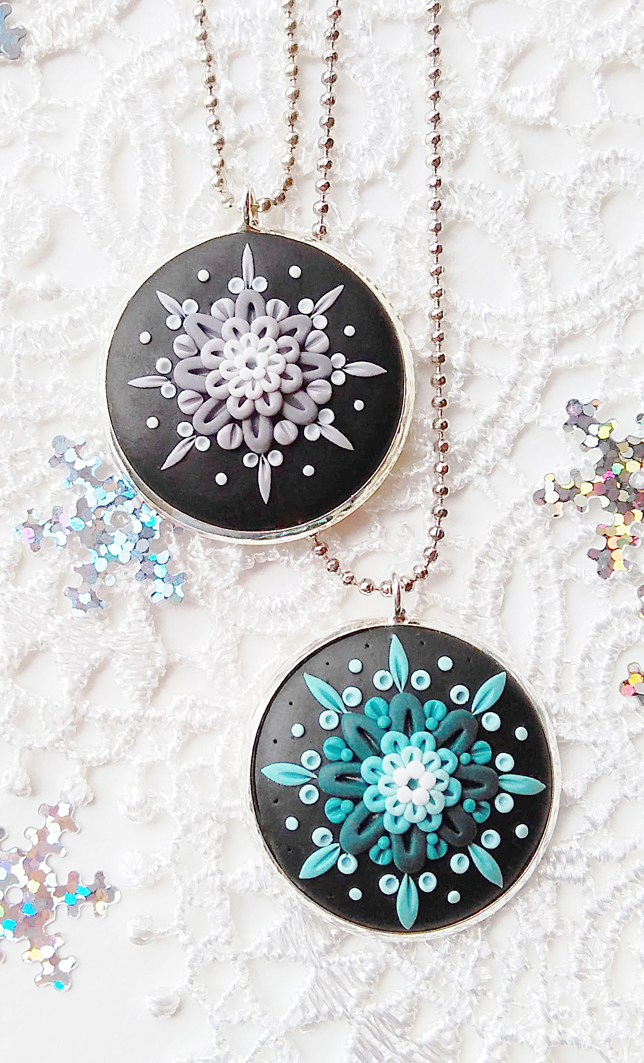 Handmade Applique Snowflake Earrings made with Blue and White polymer clay