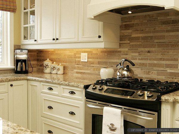 Kitchen Backsplash Tile travertine-subway-kitchen-backsplash-tile-beige-cabinet | kitchen