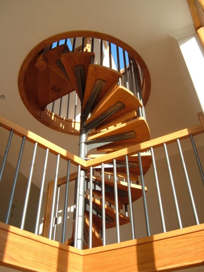 Nice Spiral Staircase Wooden Steps Metal Frame Cast Stairs. Denver. Denver #8825