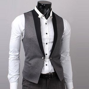 UK Men Dress Jacket Suit Slim Vest Business Formal Vest Waistcoat Button Top Hot