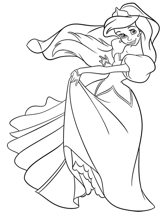 Princess Ariel In Pretty Dress Coloring Page Disney Rhpinterest: Disney Princess Coloring Pages Ariel In A Dress At Baymontmadison.com