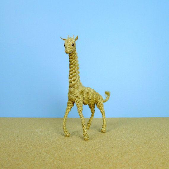 Vintage Bendable Jute Giraffe Animal Figurine Handmade Jute Sculptures Giraffe Animals Animal Figurines