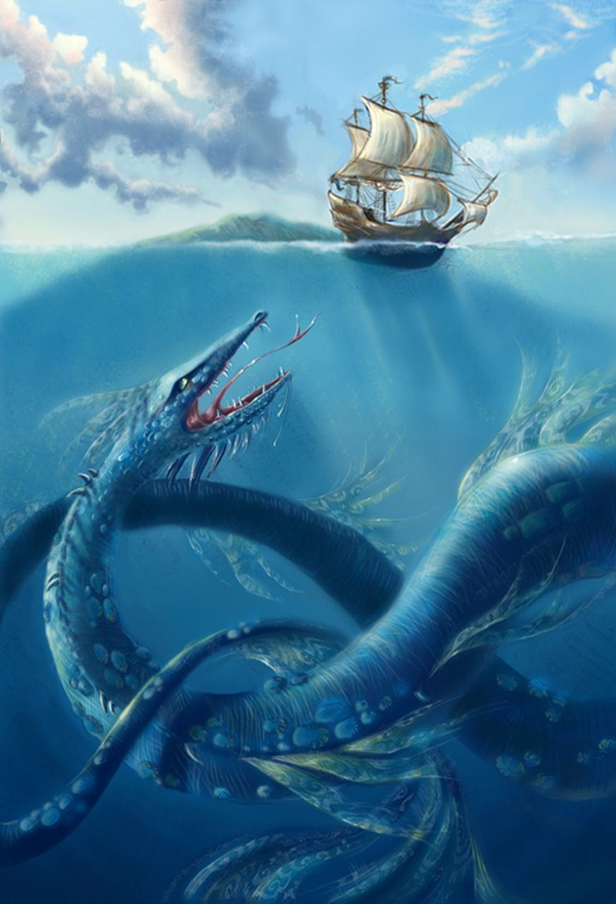 Blue Sea Serpent Attacks | Sea Monsters | Pinterest | Sea ...