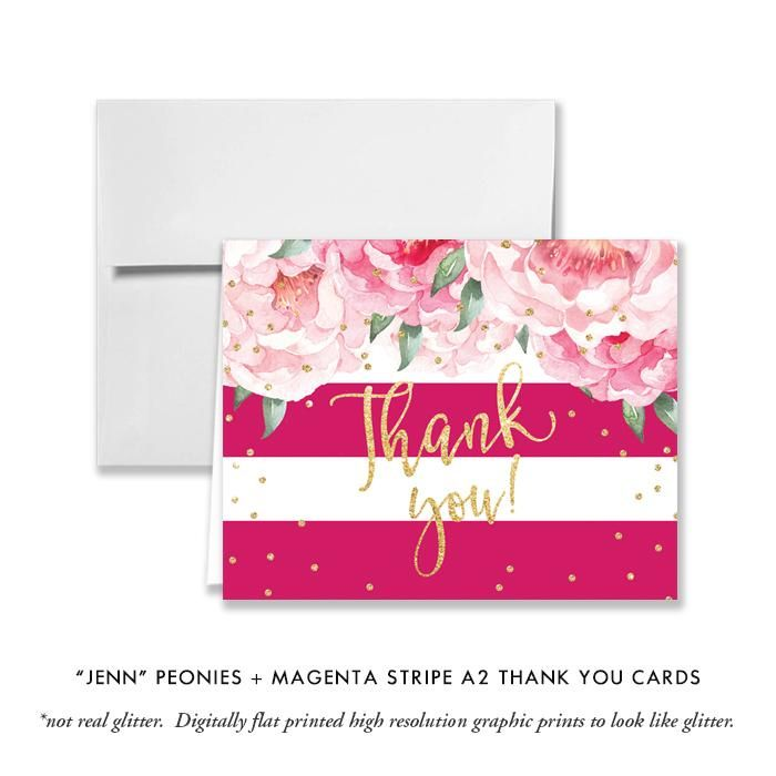 Jenn Peonies Magenta Stripe Thank You Card In 2018 Bridal