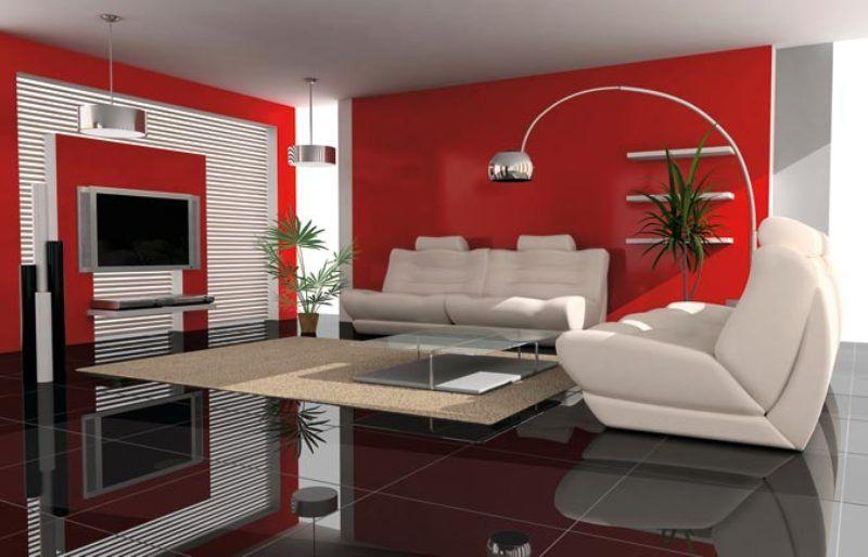 Tollens peinture interieur orizon salon moderne rouge lampe 1266330226279