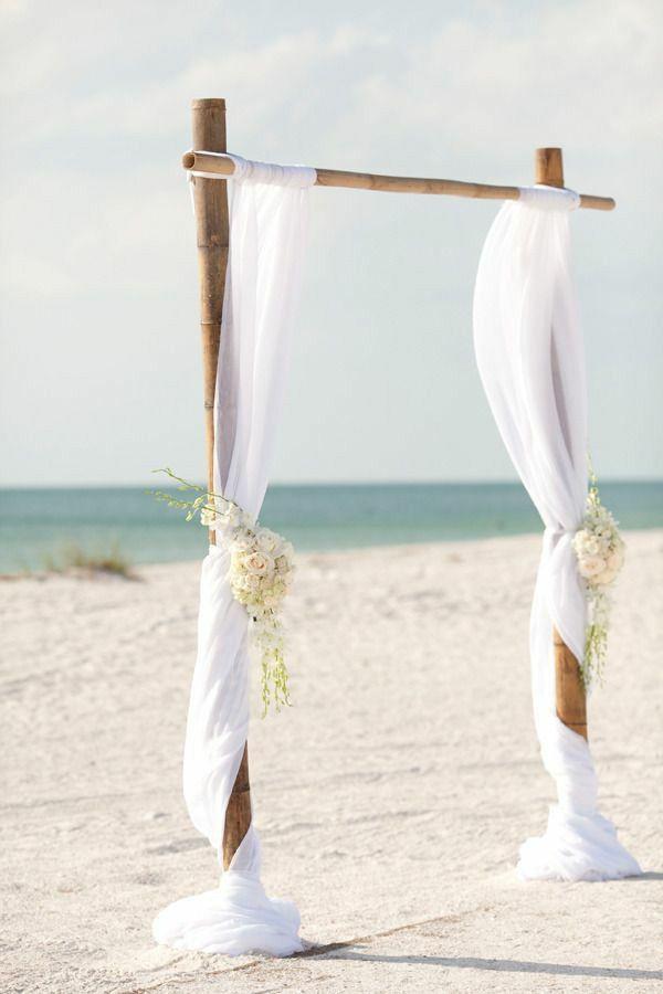 DIY Weddings Decorations Of Bow Lace White Beach Wedding ArchesWedding