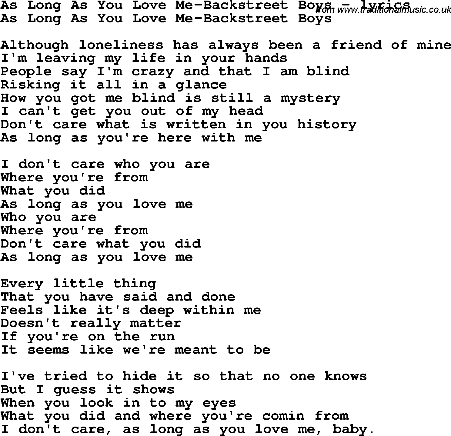 As love as you love me lyrics
