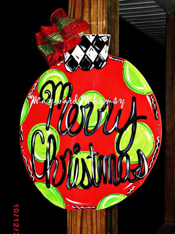 christmas ornament wood cut out door hanger by thewaywardwhimsy 3500