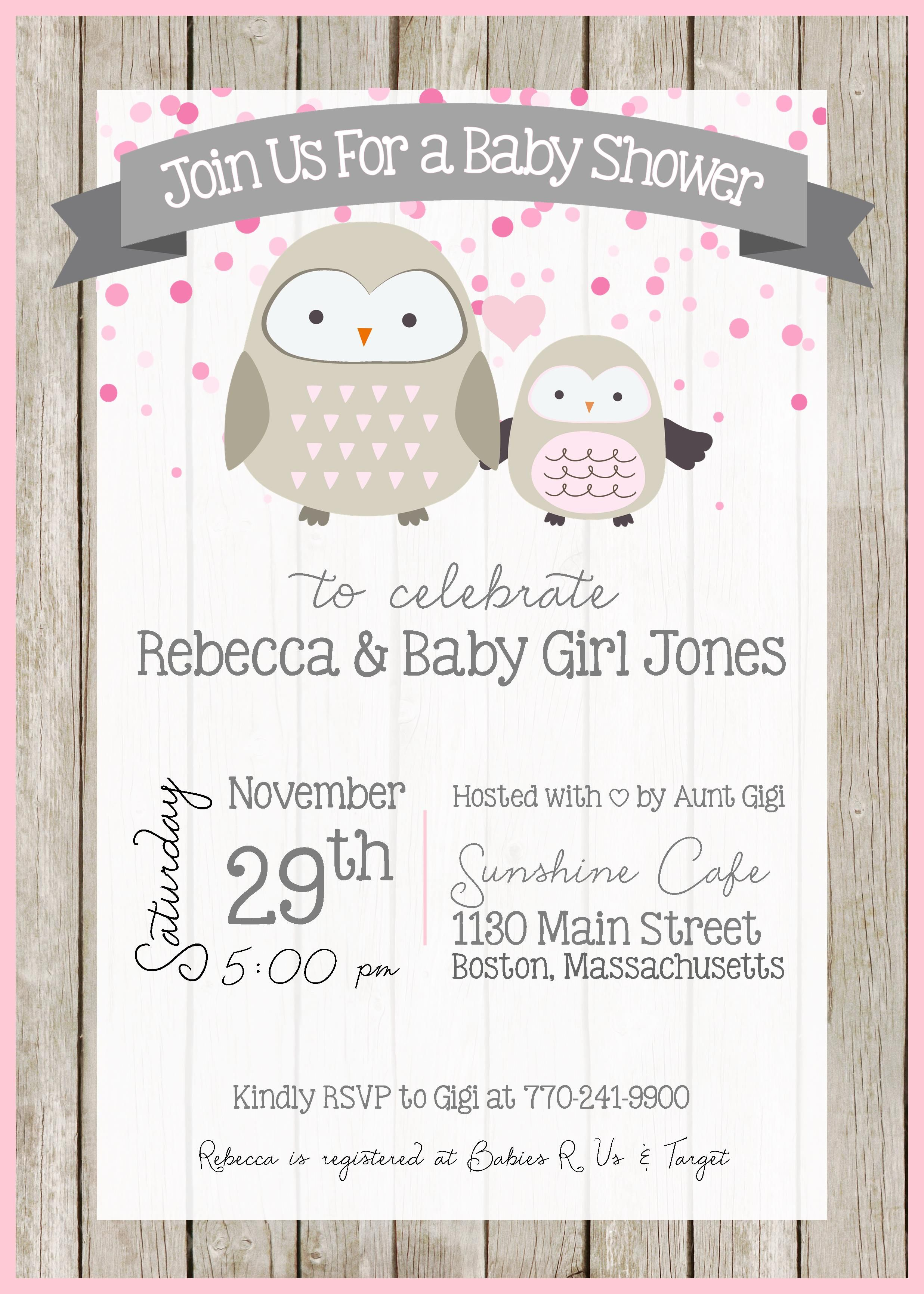 Owl Baby Shower Invitation - Owl Theme - Whoo Whoo - Baby Shower ...