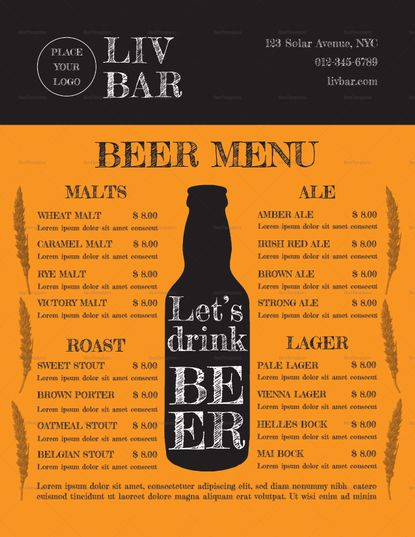 Sample Beer Menu Template  Menu Templates Commercial Printing And