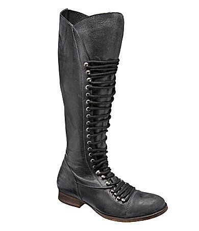 """Steve Madden """"Perrin"""" boots... I saw these during Lord&Taylor's boot sale recently. They're even cheaper on this site- $129- but still expensive.   What I really liked about them is that the zipper lining is red."""
