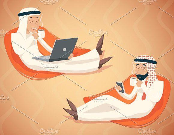 Arab Businessman Retro Cartoons Business Man Cartoon Design