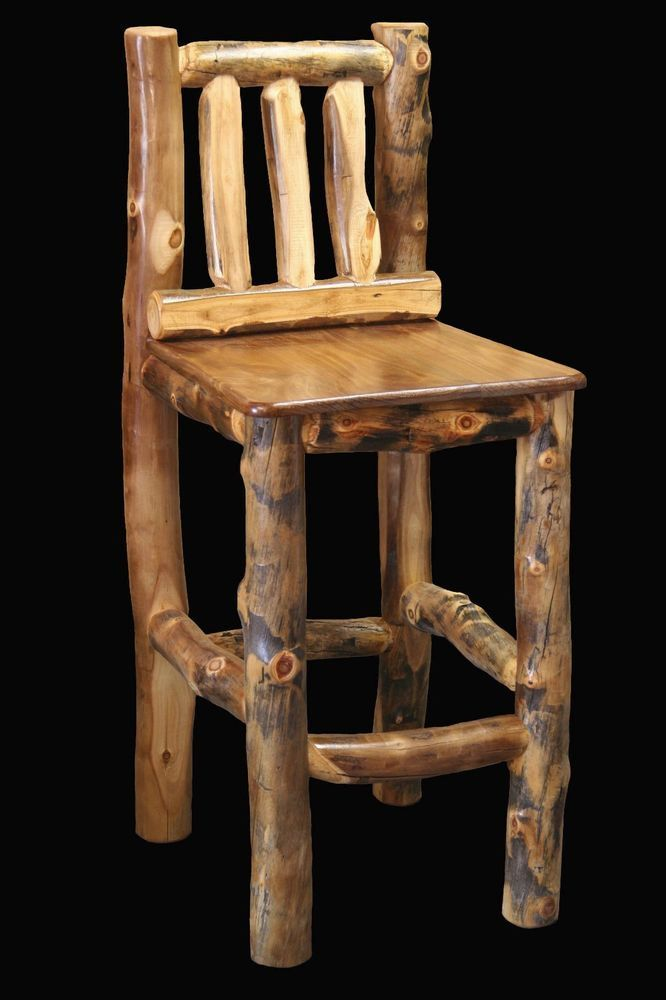 Log Kitchen Table And Chairs Part - 41: Log Chair Tall Barstool - Country Western Rustic Cabin Wood Table Kitchen  Decor In Home U0026 Garden, Furniture, Bar Stools