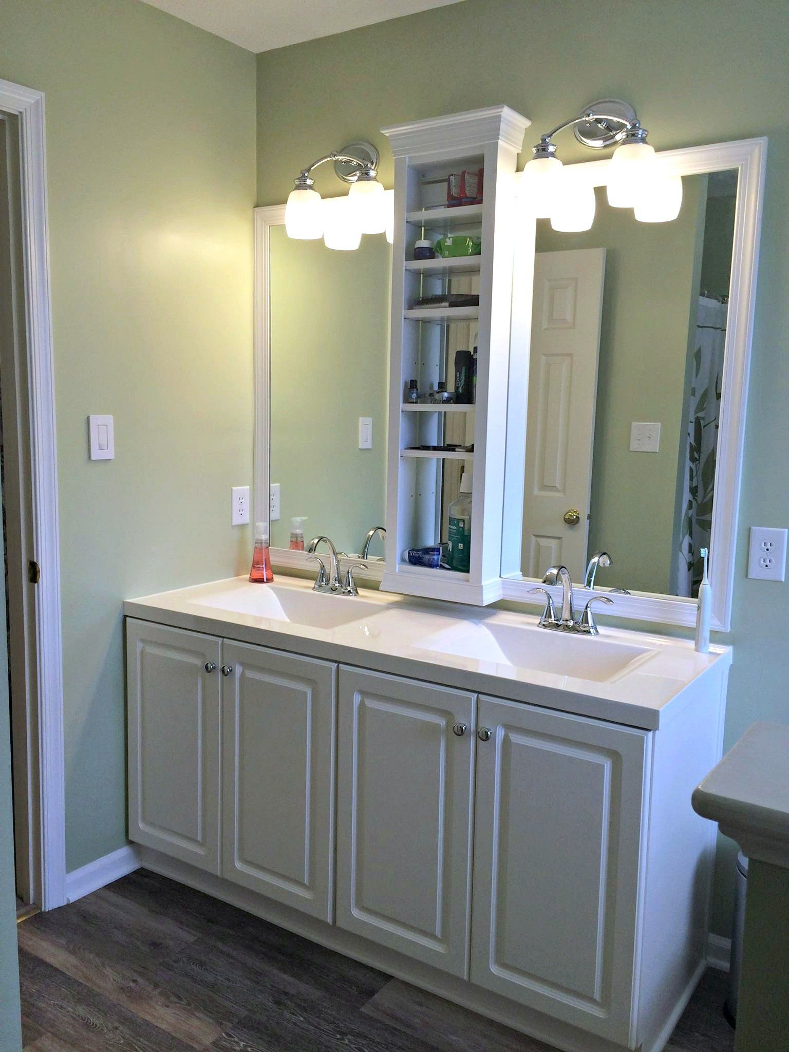 Master Bathroom Vanity Sink Mirror Update Built In Shelves Framed Mirror With Molding Trim
