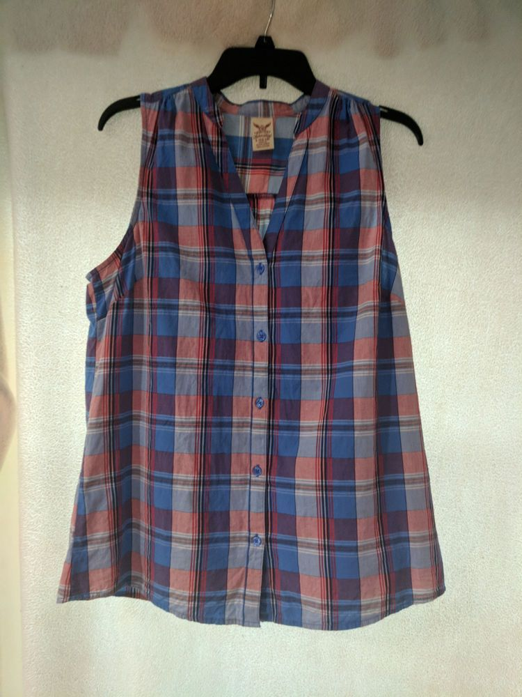 21e286215d0e1 Faded Glory Woman s Plaid Sleeveless Shirt Tank Top Buttons Size L Blue Red   FadedGlory  ButtonDownShirt  Casual