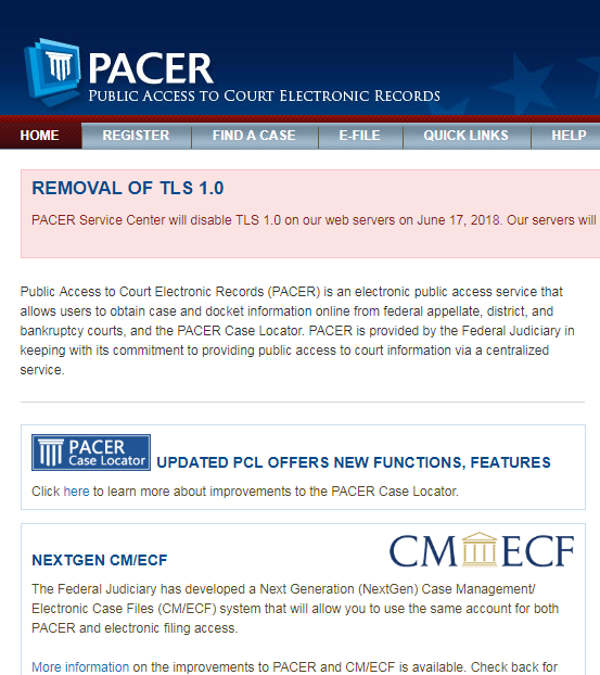 Public Access to Court Electronic Records (PACER) is an