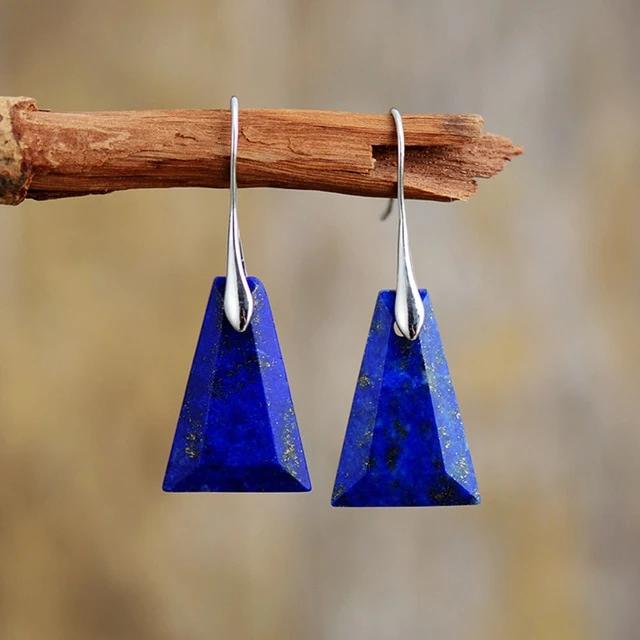 Boucle d'oreille Bohème d'amour & Amitié en triangle Lapis Lazuli – Bijoux -…   – Collection Bohème Chic (Boho)