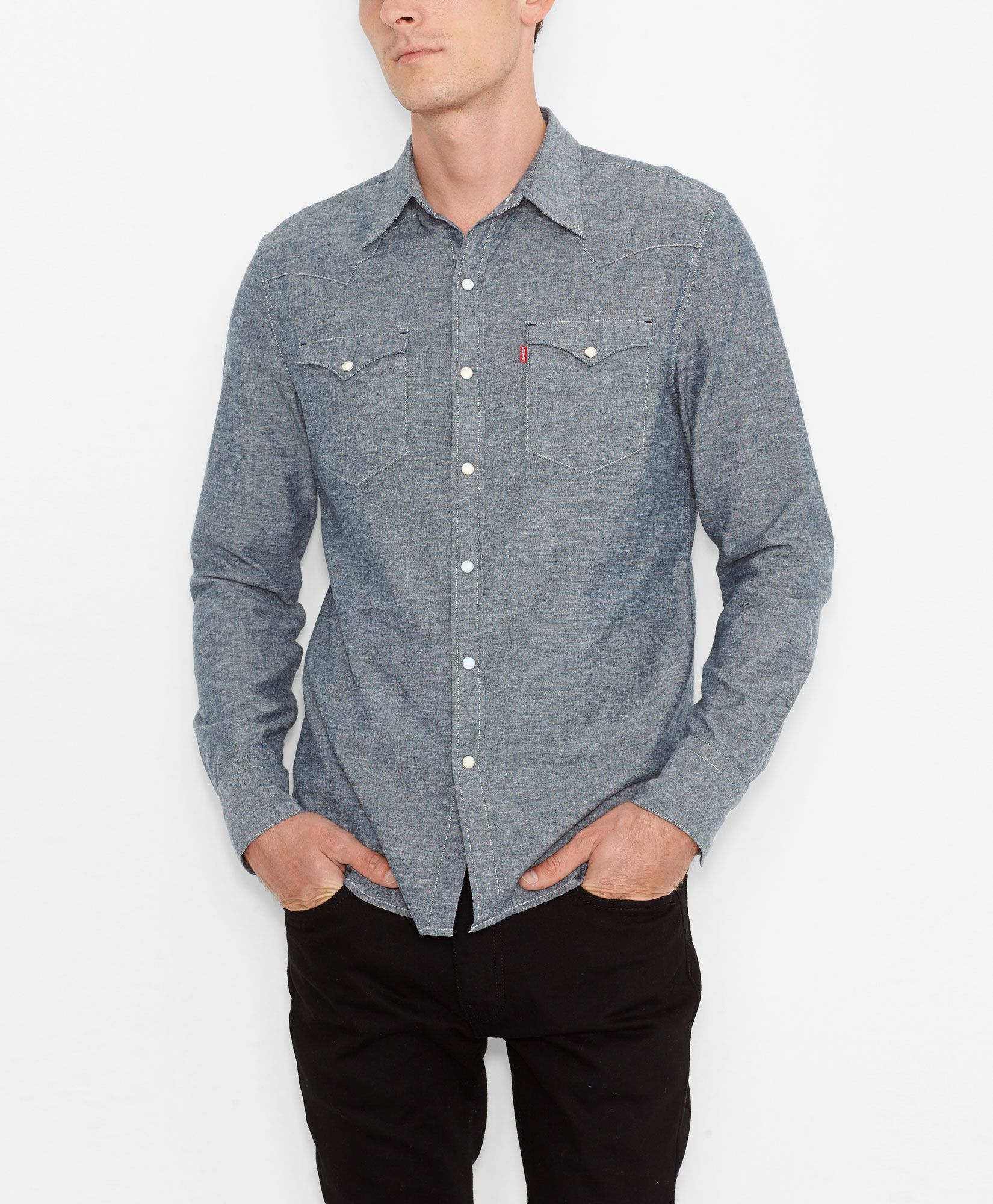 5e1dfa411c Levi s Barstow Western Shirt - Blue Recycled Chambray - Plaid Westerns