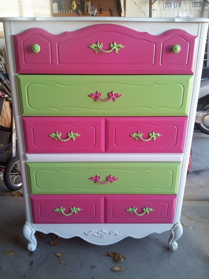 Multi Colored Painted Dresser