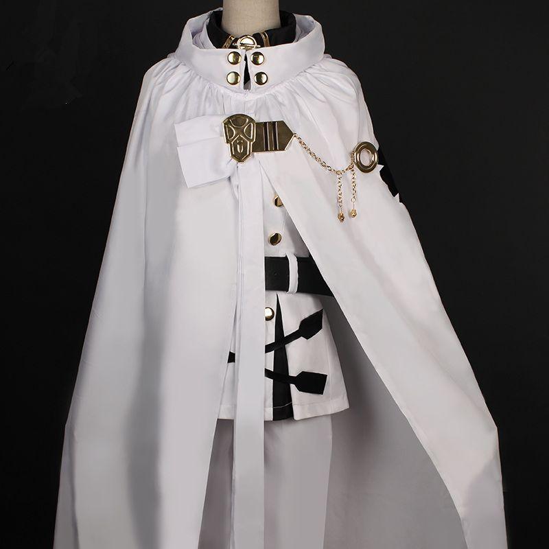 Anime Seraph of The End Vampire Mikaela Hyakuya White Uniform Cosplay Costume@@