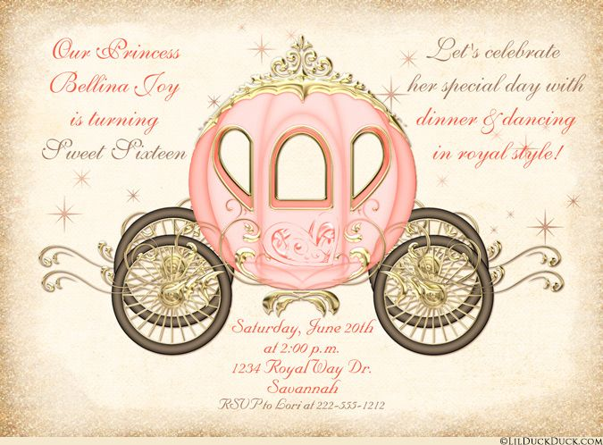 Fairytale Sweet Sixteen Invitations Enchanted Cinderella Sweet