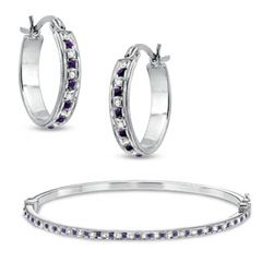 Diamond Fascination™ and Amethyst Fascination™ Hoop and Bangle Set in Sterling Silver with Platinum Plating - Sets - Zales