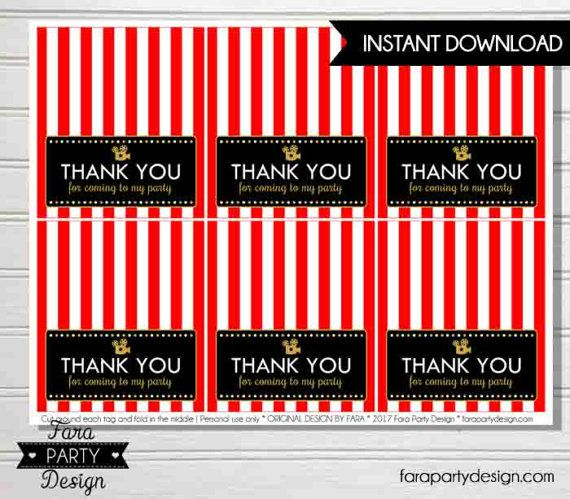 Hollywood Birthday Party Printable Folding Favor Tags by Fara