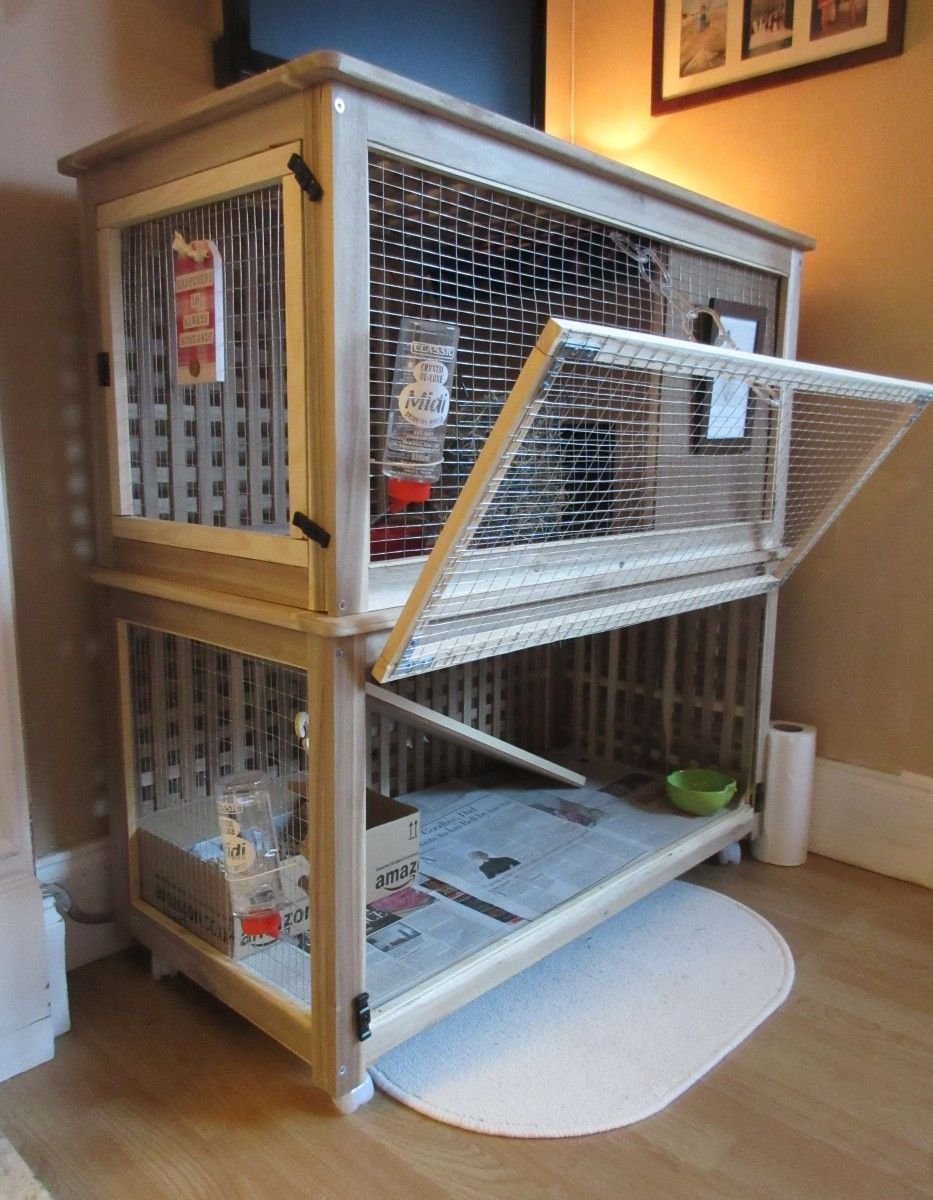 I Made A 2 Level Rabbit Cage From The IKEA HOL Storage Boxes. Bunny