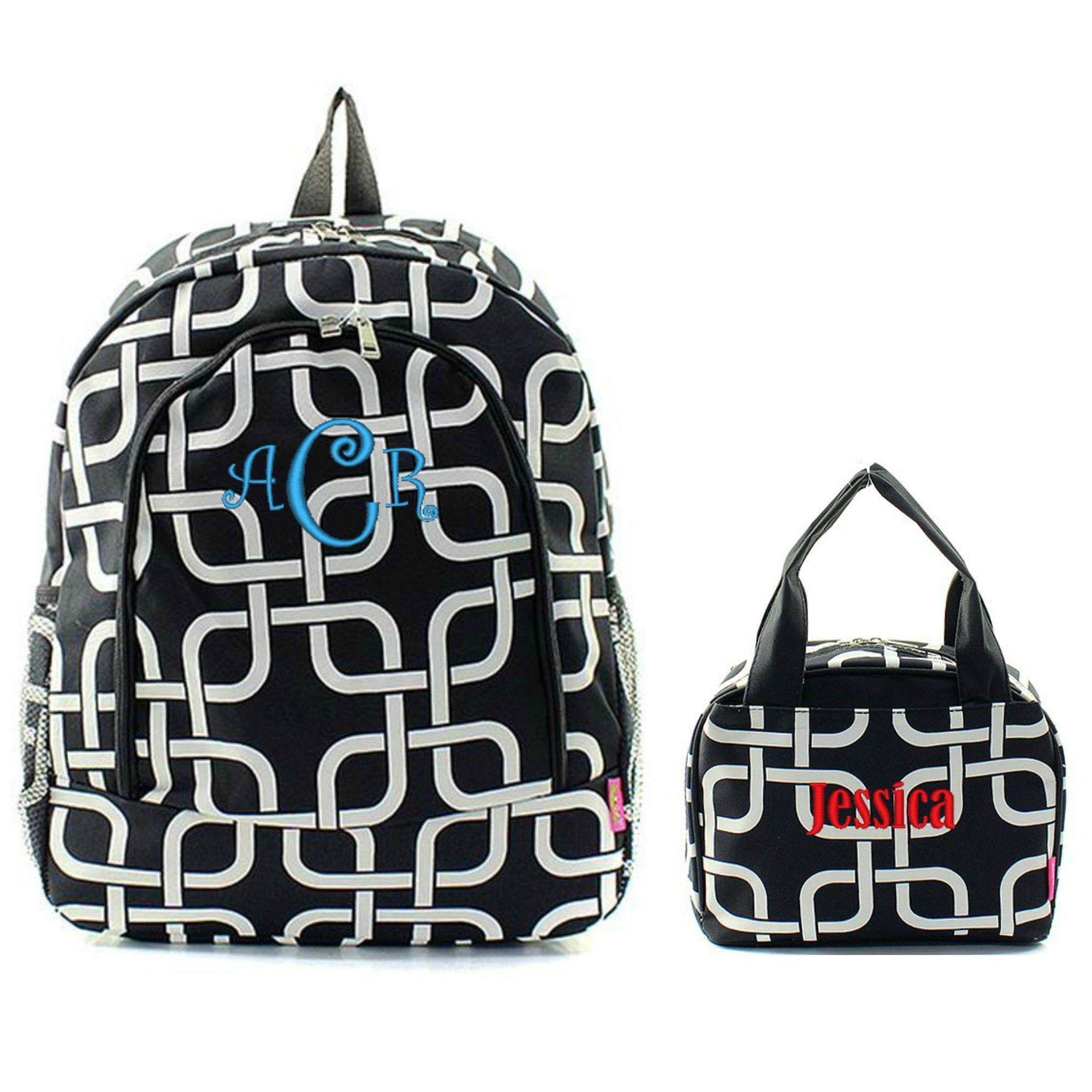 Matching Link Black Personalized Kids Backpack & Lunch Bag Set ...