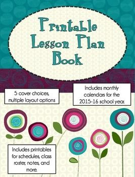 printable lesson plan book modern flowers classroom organization