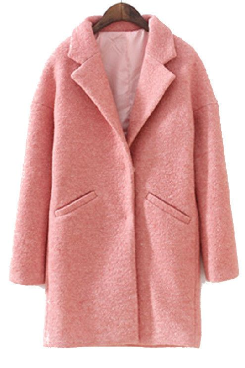 Coral Pink Blush Oversized Peacoat Basic Notch Collar Boyfriend ...