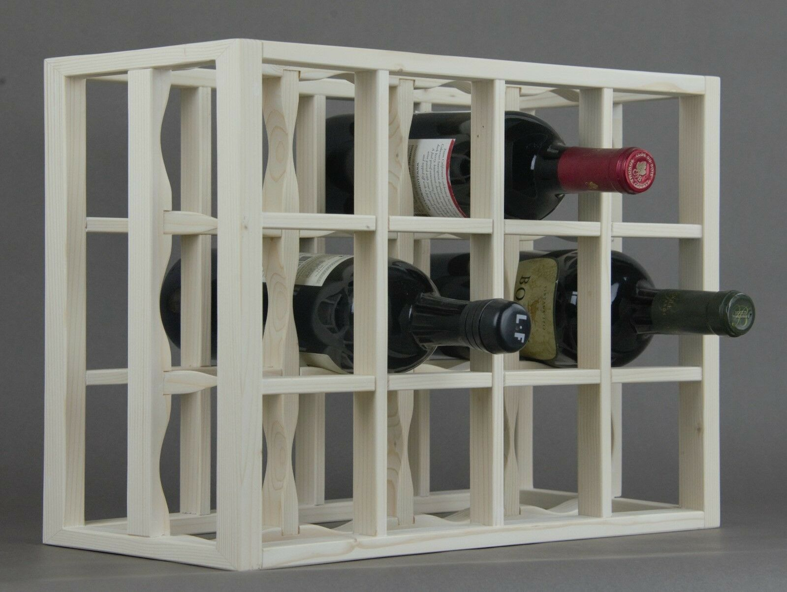 Victoria Wine Rack 12 Bottles Solid Wood Whitewashed Countertop