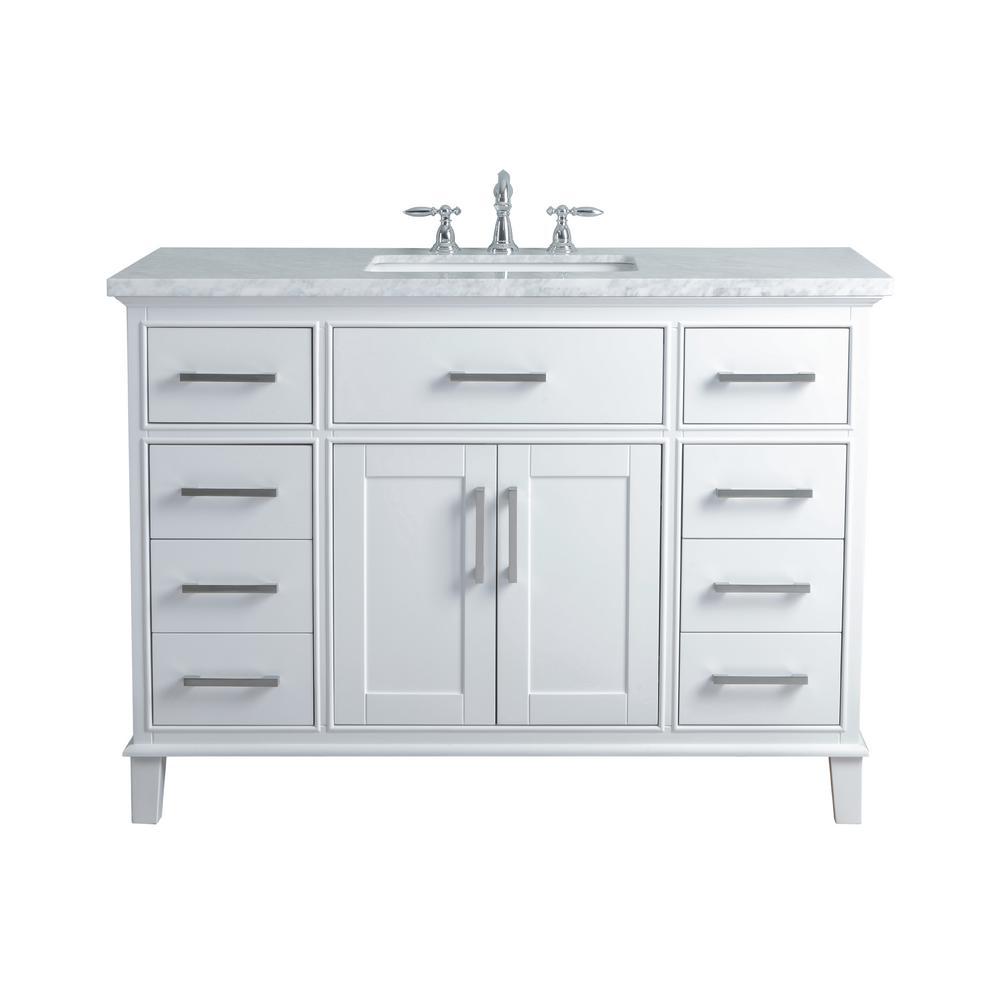 Stufurhome 48 In Leigh Single Sink Bathroom Vanity In White With