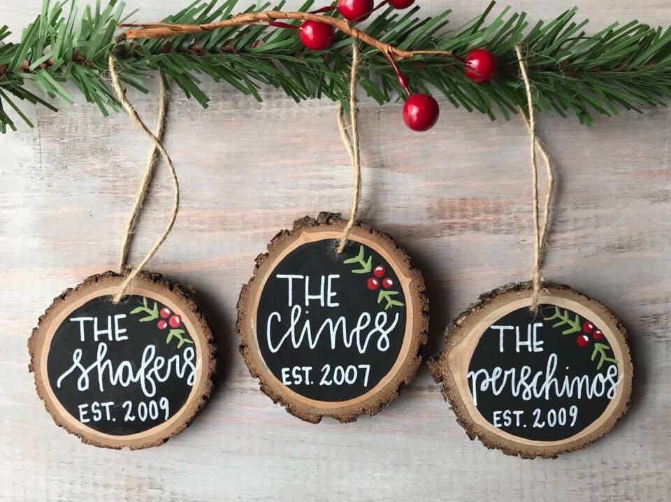 Pin By Peg On Gift Idea Wood Christmas Ornaments Family Christmas Ornaments Christmas Ornaments