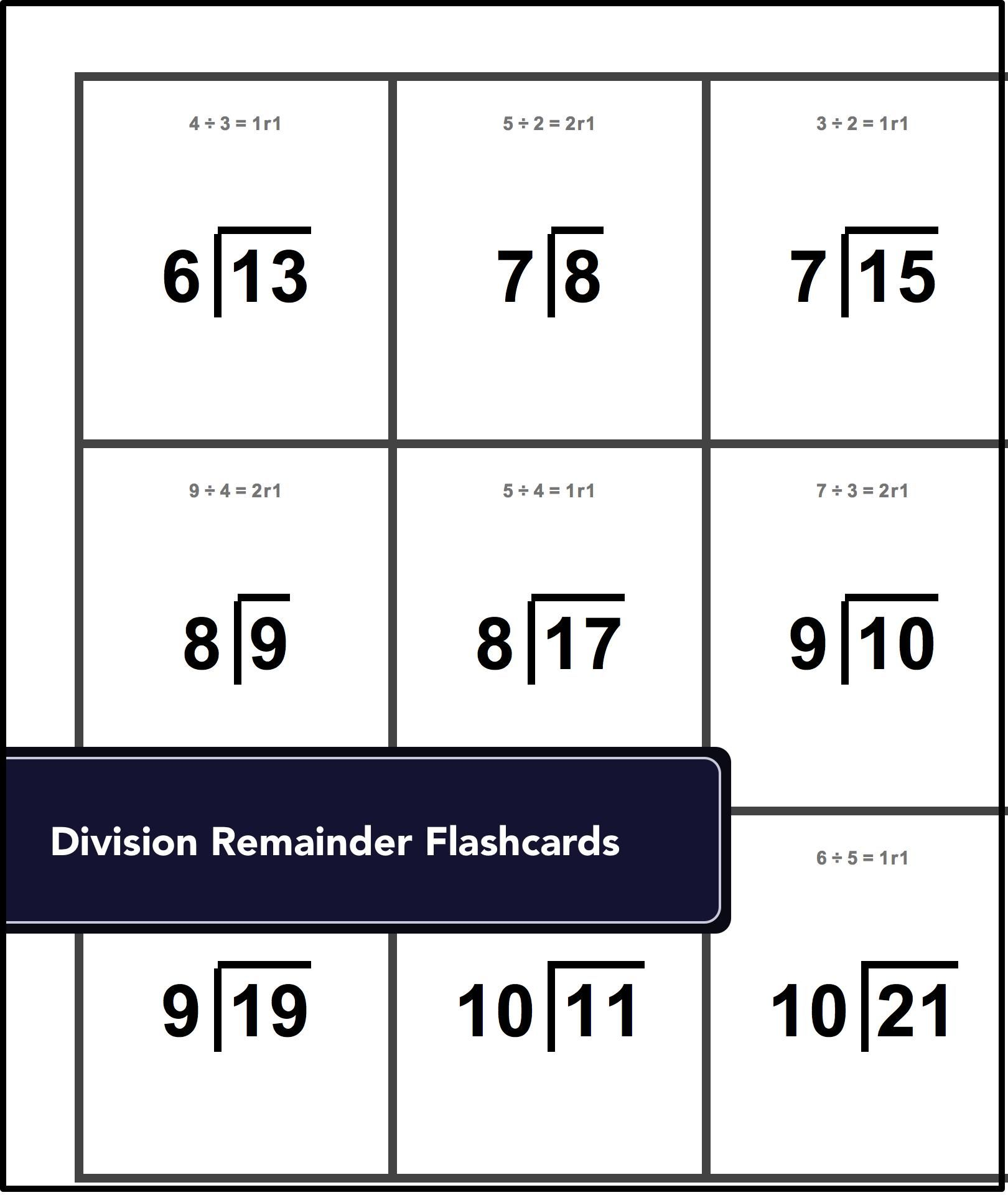 These Flash Cards For Facts With Small Remainders Are A